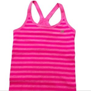 New Balance Two Tone Pink Striped Performance Tank